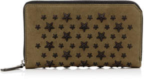 Jimmy Choo CARNABY Olive Biker Leather Travel Wallet with Stars