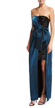 Aidan Mattox Strapless Sequin Short Dress w/ Satin Gown Overlay