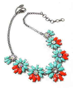 Amrita Singh Teal & Coral Austrian Crystal Floral Statement Necklace