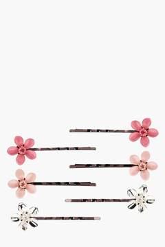 boohoo Emma Oriental Floral Hair Grip 6 Pack