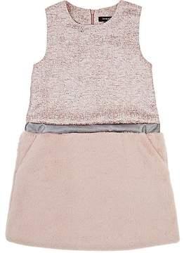 Imoga Pia Metallic Tweed & Faux Faur Shift Dress