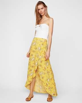 Express Large Floral Ruffle Wrap Maxi Skirt