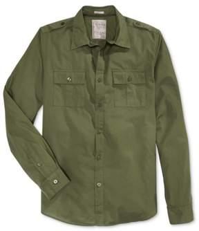 GUESS Mens Cotton Button Up Shirt Green M