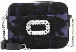 Roger Vivier Embellished satin and leather shoulder bag