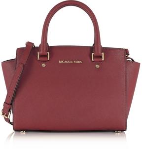 Michael Kors Selma Medium Mulberry Saffiano Leather Top-Zip Satchel Bag - ONE COLOR - STYLE
