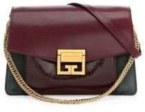Givenchy Small GV3 Crackle& Suede Aubergine Shoulder Bag
