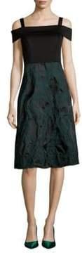 Donna Ricco Textured Squareneck Knee-Length Dress