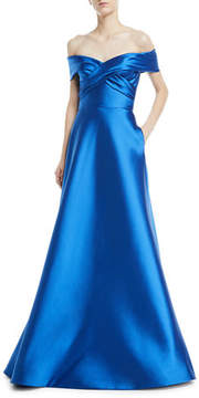 Theia Metallic Stretch Crisscross Off-the-Shoulder Gown