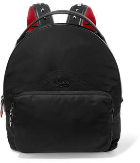 Christian Louboutin Leather-trimmed Studded Shell Backpack - Black