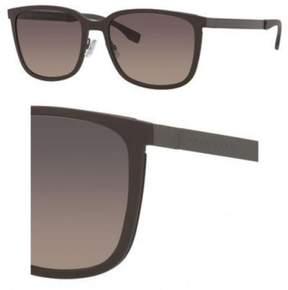 HUGO BOSS BOSS by Men's B0723S Rectangular Sunglasses, Brown/Dark Ruthenium/Gray/Green Gradient, 56 mm