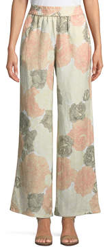 Joan Vass Linen-Blend Wide-Leg Floral Pants