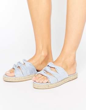 Miss KG Donna Bow Espadrille Slide Flat Sandals
