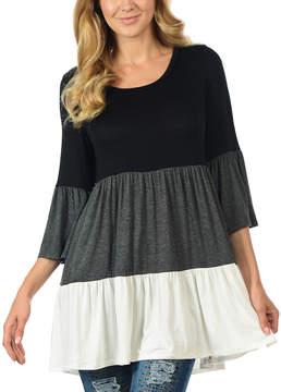 Celeste Black & Charcoal Color Block Bell-Sleeve Tunic - Women