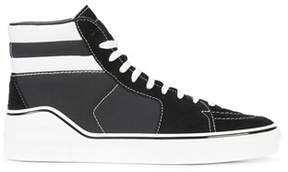 Givenchy Men's White/black Fabric Hi Top Sneakers.
