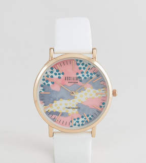 Reclaimed Vintage Inspired Polka Leather Watch In White 36mm Exclusive to ASOS