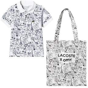 Lacoste White Animation Print Polo and Bag