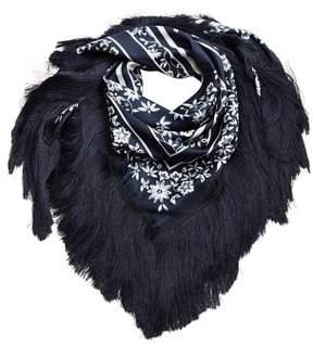MANGO Fringes embroidered scarf