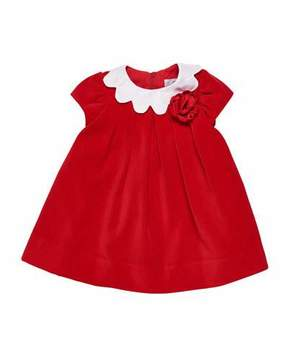 Florence Eiseman Twill Velvet Dress w/ Scalloped Collar, Size 3-24 Months