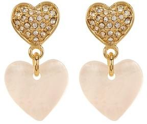 Carolee Pave Double Heart Drop Earrings