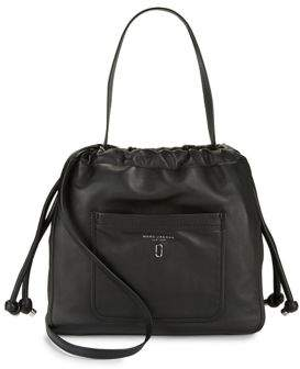 Marc Jacobs Leather Tie-Up Hobo Bag - MUSHROOM - STYLE