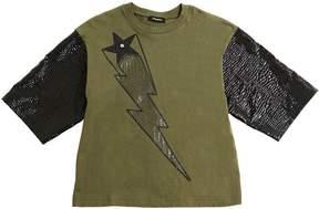 Diesel Glittered Print Cotton Jersey T-Shirt