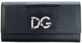 Dolce & Gabbana logo plaque flap purse - BLACK - STYLE