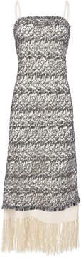 Derek Lam Embroidered Fringe Slip Dress