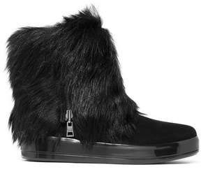 Prada Shearling-lined Suede Boots - Black