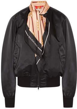 Balenciaga Silk Twill-trimmed Shell Bomber Jacket - Black