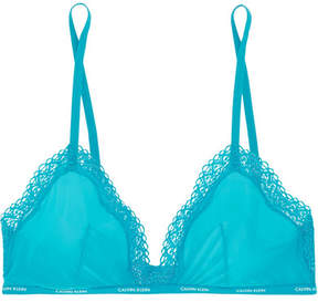 Calvin Klein Underwear Sheer Marquisette Lace-trimmed Stretch-mesh Soft-cup Triangle Bra - Turquoise