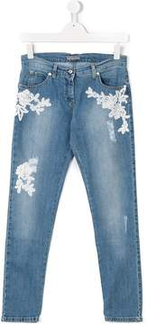 Ermanno Scervino floral embroidered jeans