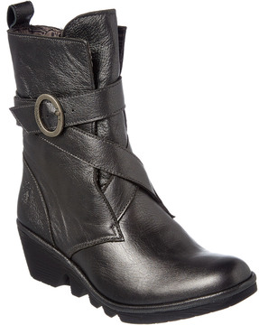 Fly London Pong Leather Wedge Bootie
