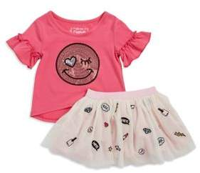 Flapdoodles Kid's Two Piece Blouse & Skirt Set