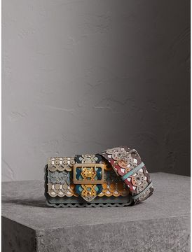 Burberry The Small Buckle Bag in Laser-cut Leather and Snakeskin