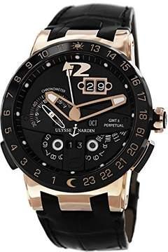 Ulysse Nardin El Toro GMT Black Dial 18kt Rose Gold Black Leather Men's Watch