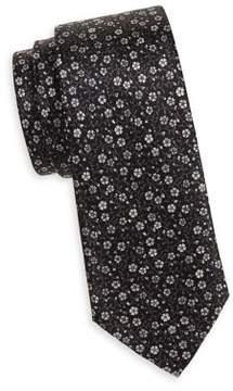 Black & Brown Black Brown Floral-Print Silk Tie