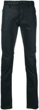 John Varvatos wet look slim trousers