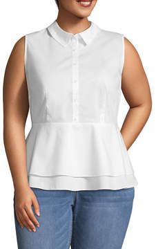 Boutique + + Sleeveless Woven Blouse - Plus
