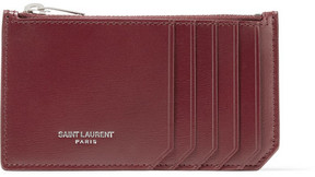 Saint Laurent Leather Cardholder - Claret - CLARET - STYLE