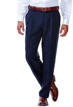 Haggar Men's eCLo Stria No-Iron Classic-Fit Pleated Comfort Waist Dress Pants