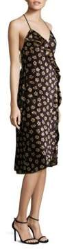 ABS by Allen Schwartz Floral-Print Velvet Wrap Dress