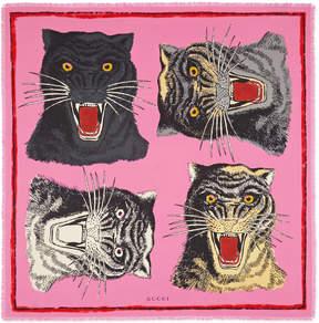 Tiger Face print silk scarf