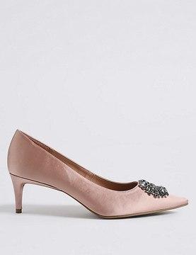 Marks and Spencer Kitten Heel Embellished Court Shoes