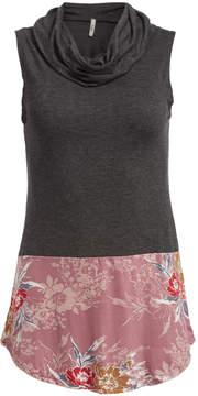 Celeste Charcoal & Pink Floral Cowl Neck Tank - Women