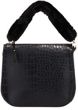 Neiman Marcus Faux-Fur Saddle Crossbody Bag