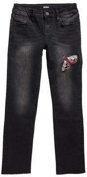 Hudson Girl's Embroidered Raw Hem Skinny Jeans