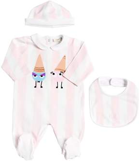 Fendi Cones Cotton Jersey Romper, Hat & Bib