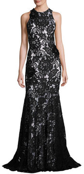 Theia Beaded Sleeveless Lace Mermaid Gown, Black/White