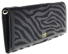 Roberto Cavalli Long Size Wlt W/strap Audrey 8 Black Wallet