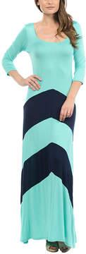 Celeste Mint & Navy Wide Chevron Maxi Dress - Women